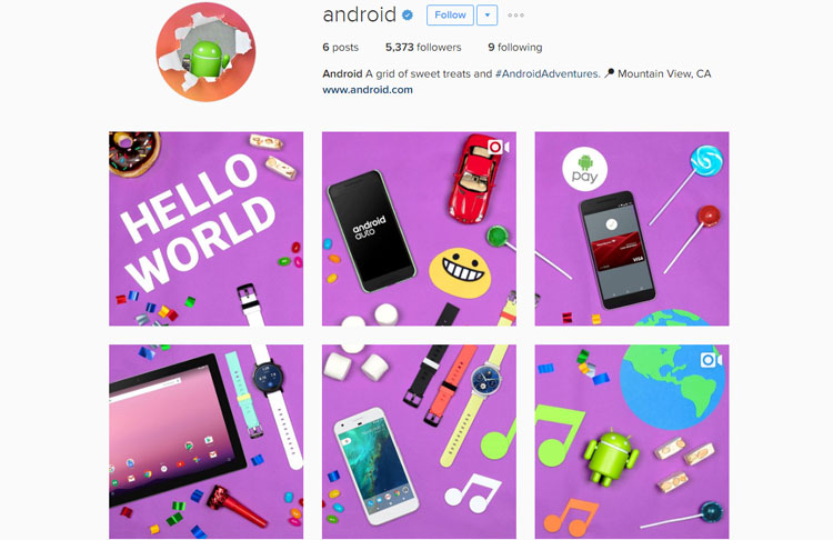Android Official Instagram Account is Now Active with #AndroidAdventures